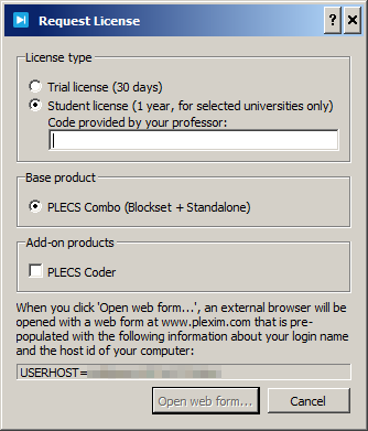 Request License dialog