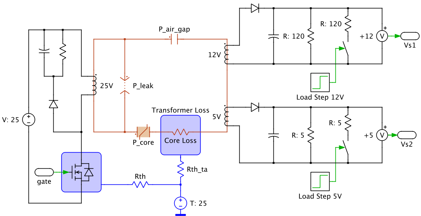 plecs pleximcircuit using electrical, magnetic and thermal domains